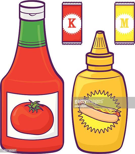 illustration of ketchup and mustard bottles and sachets - ketchup stock illustrations, clip art, cartoons, & icons