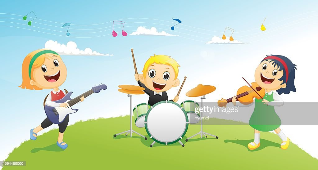 Illustration of kids playing music instrument