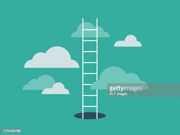 illustration of ladder emerging from hole and leading into the clouds - self improvement stock illustrations