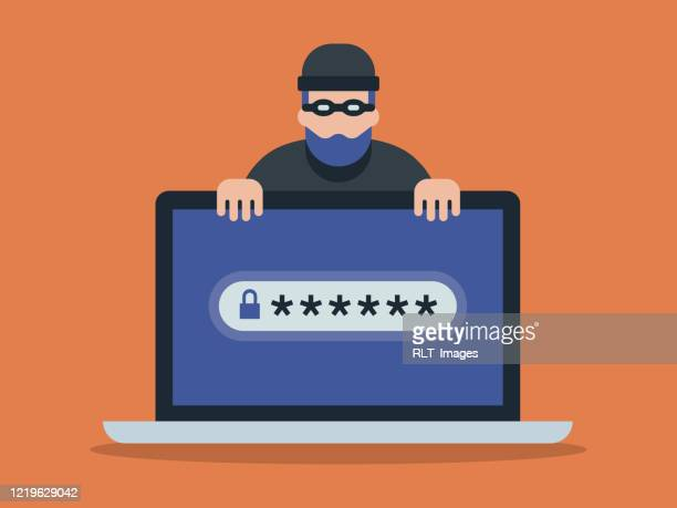 illustration of laptop computer and cyber criminal looking for password - identity theft stock illustrations