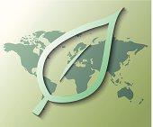 Illustration of leaf with green world background