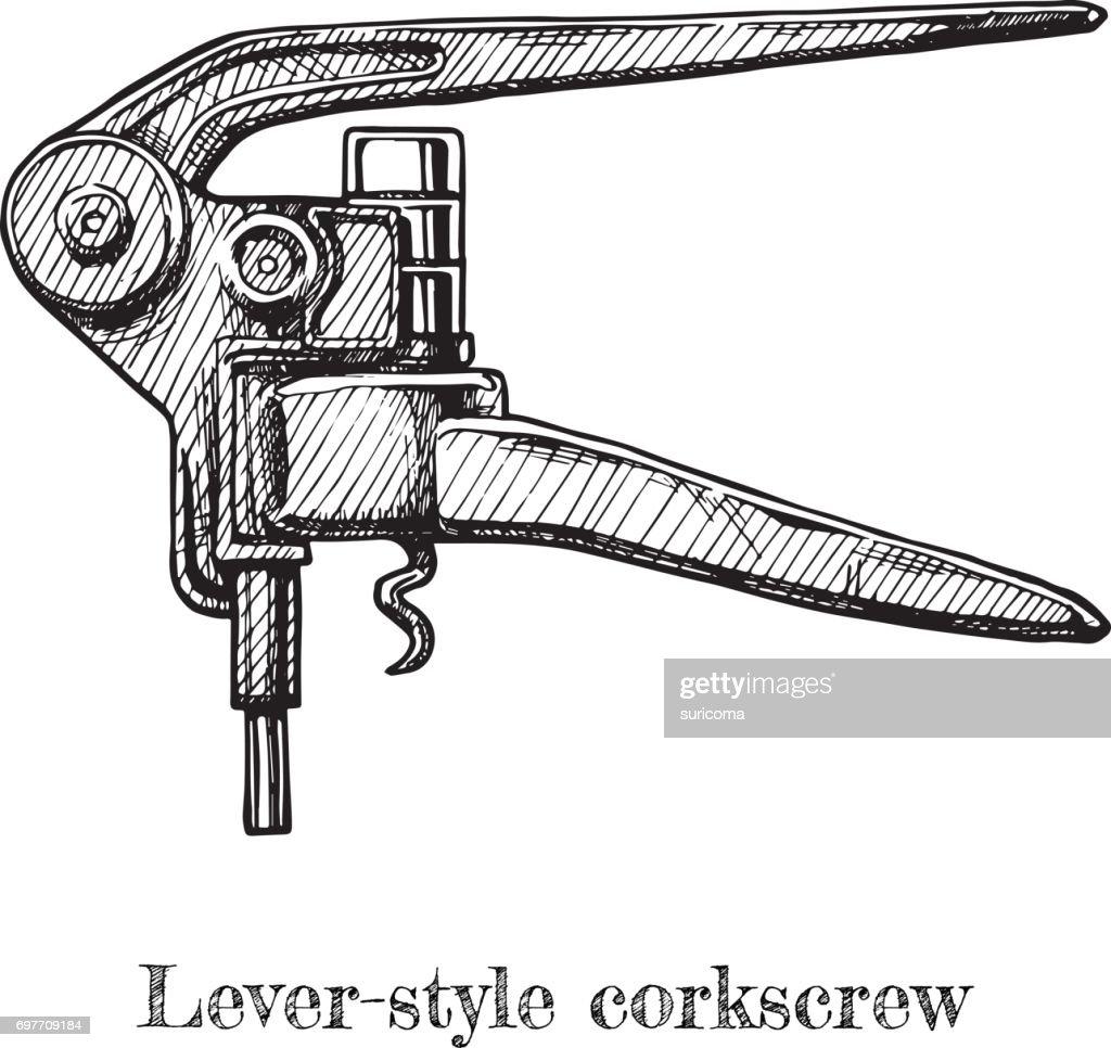 illustration of lever-style corkscrew