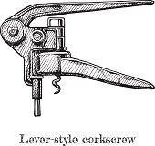 illustration of lever-style corkscrew