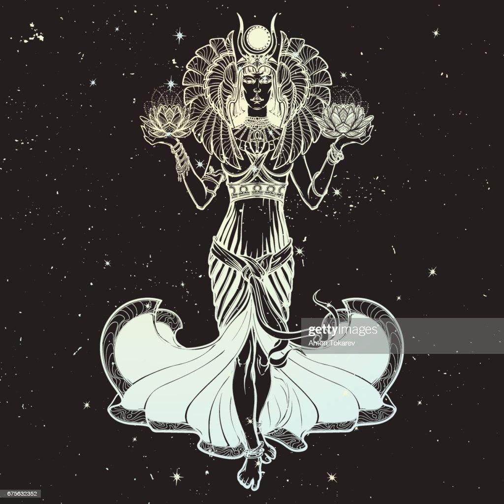 Illustration of libra zodiac sign as a beautiful Egyptian Goddess. Vector .