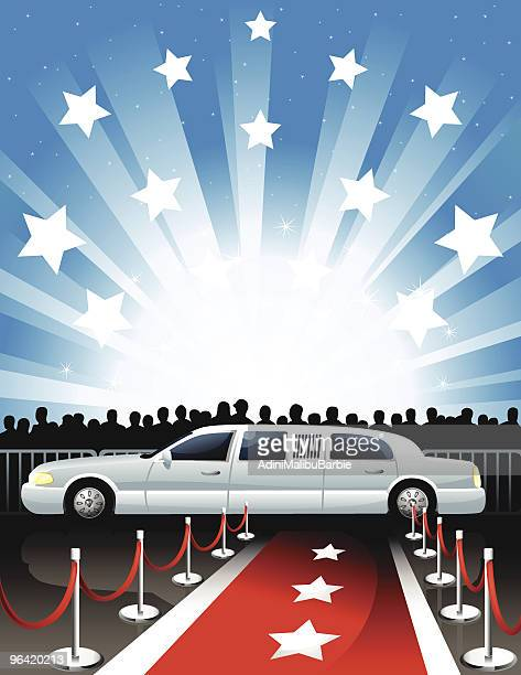 illustration of limousine and red carpet - celebrities stock illustrations