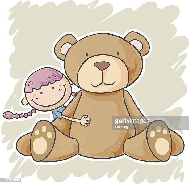 Illustration of little girl with large teddy bear