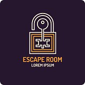 Illustration of lock and key. Real-life room escape and quest game icon