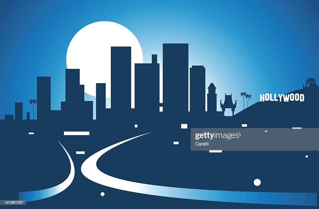 Illustration of Los Angeles skyline at night