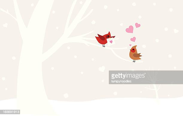 illustration of love birds in winter - male animal stock illustrations
