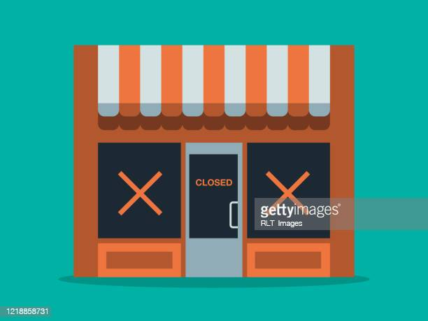illustration of main street store closure - closing stock illustrations