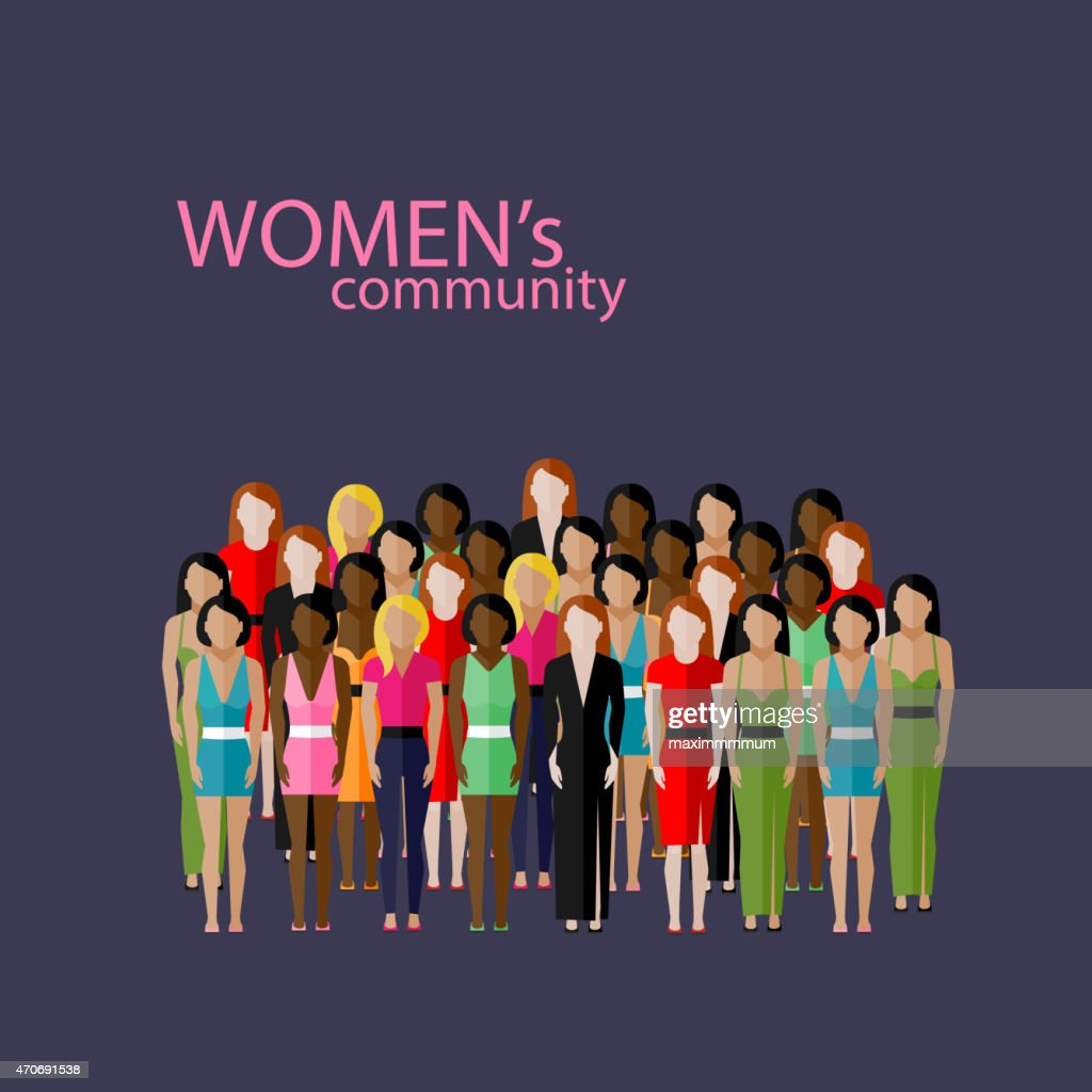illustration of male community with  group of girls and women
