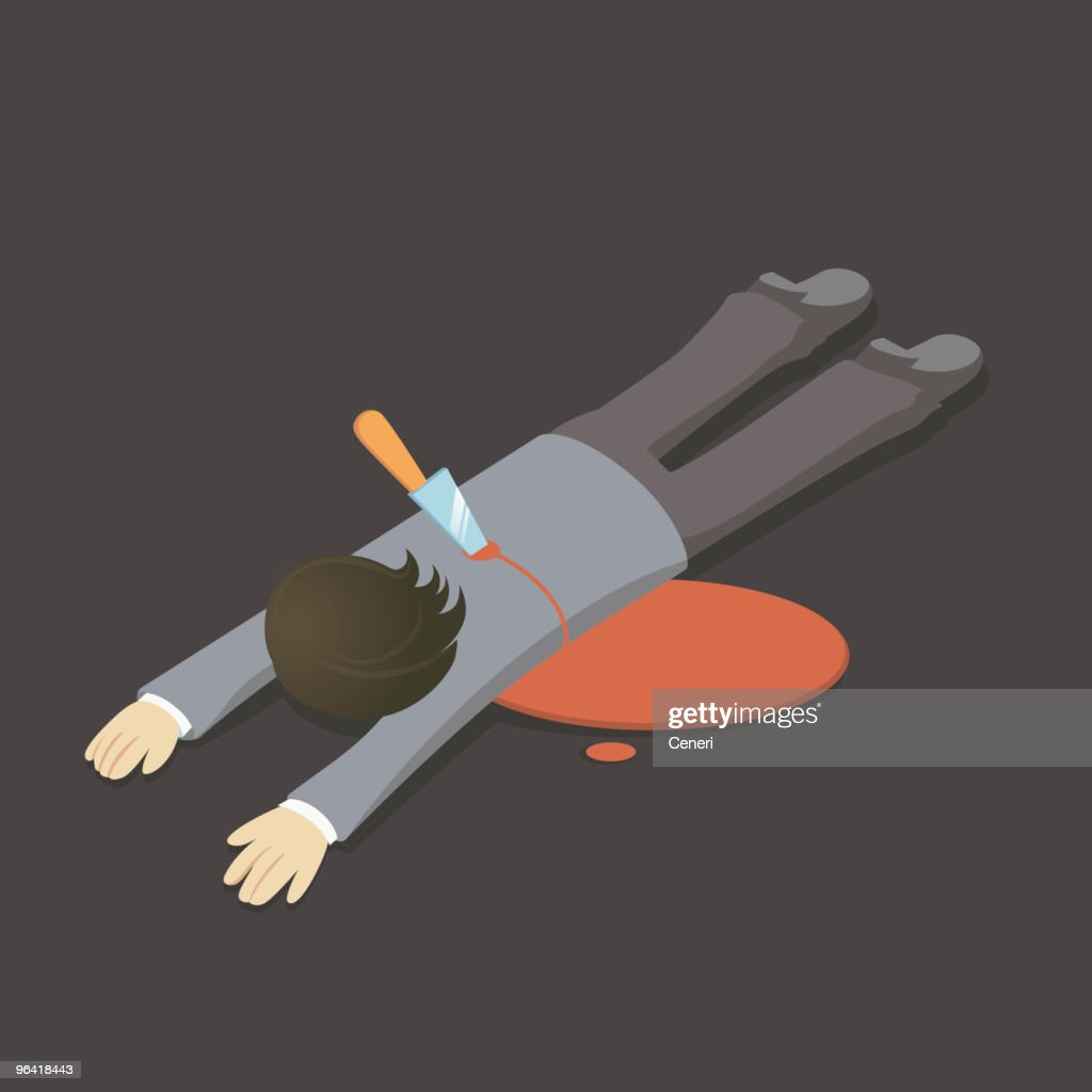 Illustration of man lying face down with knife in his back : stock illustration