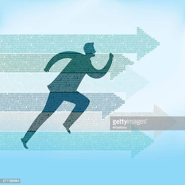 illustration of man running with arrows pointing - html stock illustrations, clip art, cartoons, & icons
