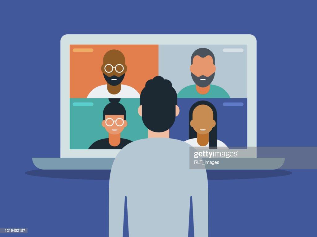ビデオ会議のためにラップトップコンピュータを使用する男性のイラスト : ストックイラストレーション