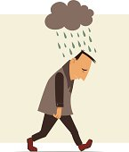 Illustration of man walking under rain cloud