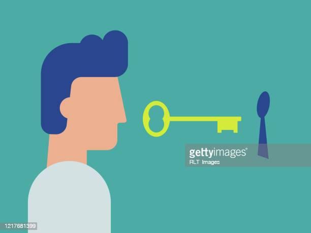 キーを持つ人間のイラスト - アクセス、プライバシー、セキュリティのためのメタファー - 開錠点のイラスト素材/クリップアート素材/マンガ素材/アイコン素材