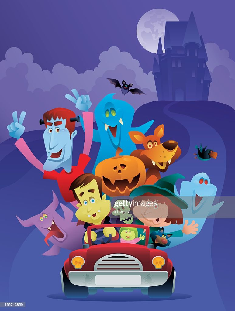Illustration of many monsters in a red car for Halloween