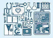 illustration of medic supplies, drugs, pills, tools, clothing, medical suitcase