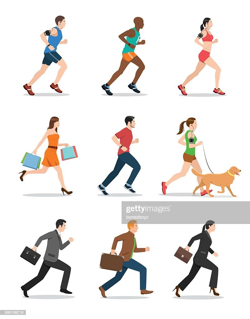 Illustration of Men and Women Running
