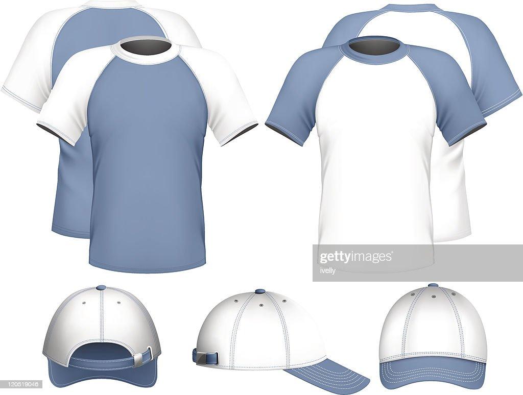 Illustration of men's t-shirt and baseball cap