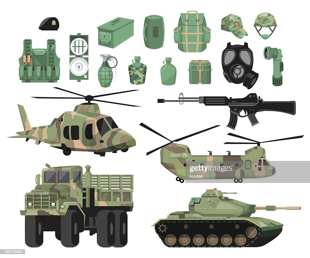 Illustration of military and supplies