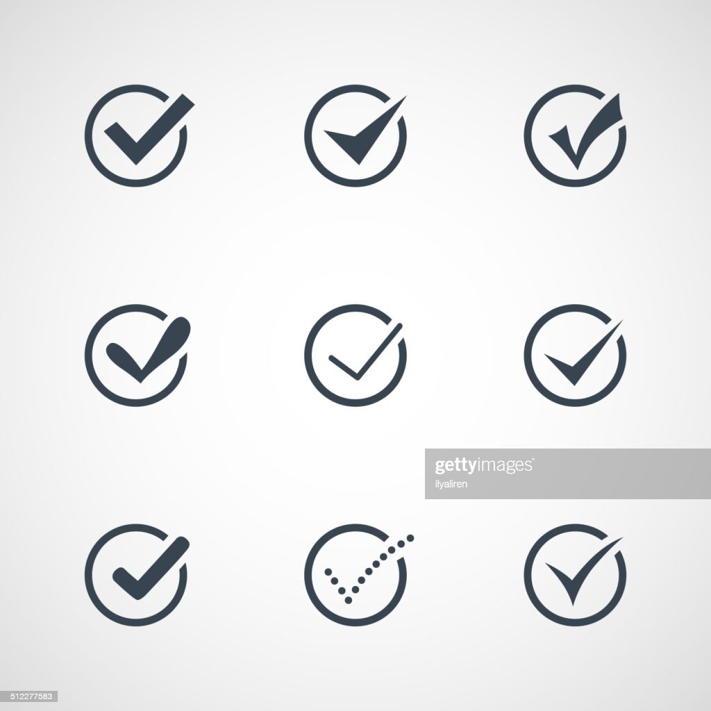 Illustration of modern confirm icons set