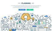 Illustration of modern line flat design planning process composition and