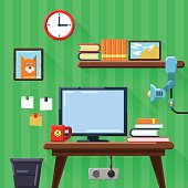 Illustration of modern workplace in room. Flat style.