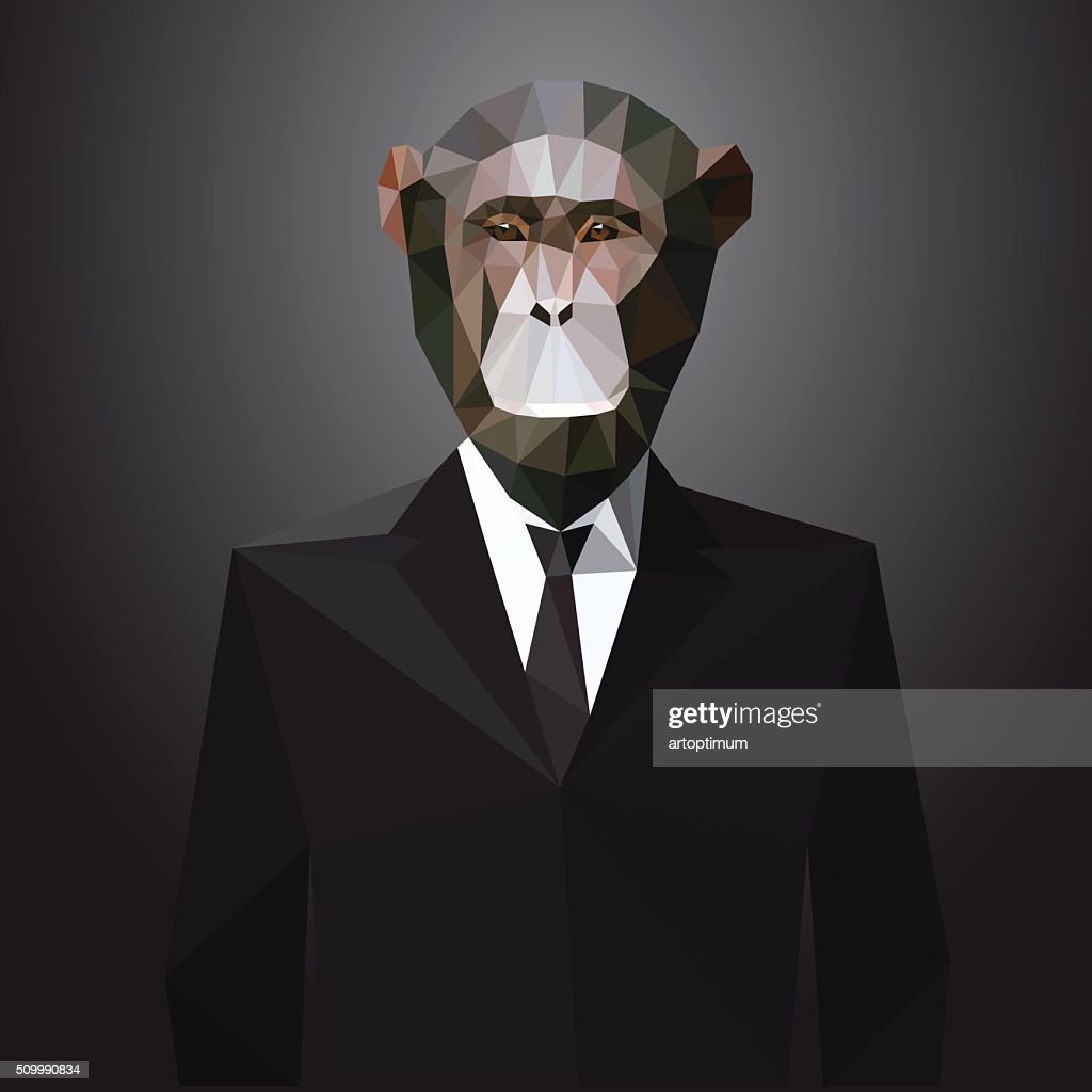 Illustration of Monkey in jacket. Vector elements