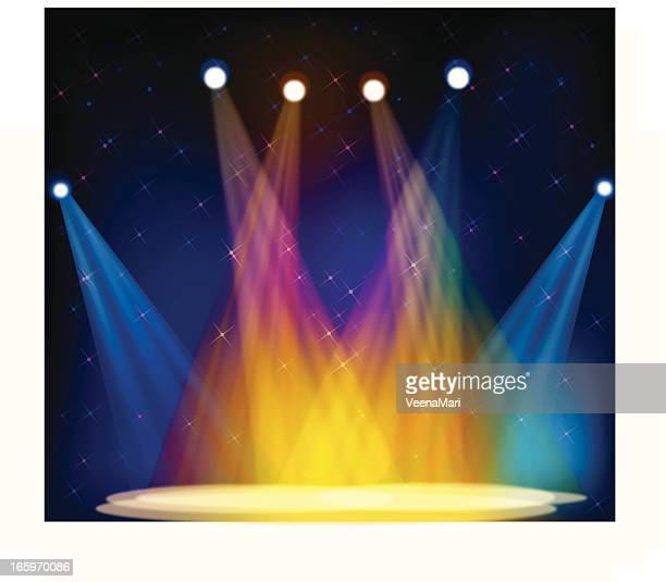 Illustration of multicolored stage lights on an empty stage