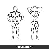 illustration of muscled man body silhouette. fitness or bodybuilding concept
