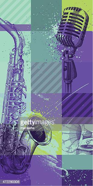 a illustration of musical instruments - jazz stock illustrations, clip art, cartoons, & icons
