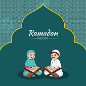 Illustration of Muslim boy and girl reading quran on the occasion of Ramadan Kareem celebration. Can be used as poster or greeting card design.