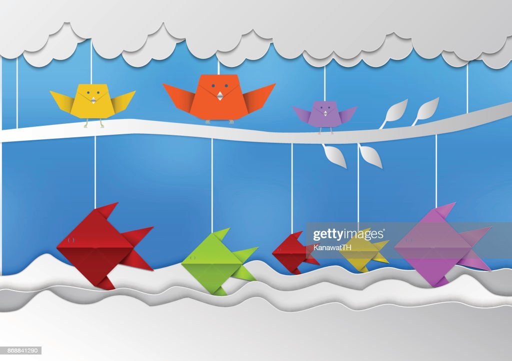 illustration of nature Birds and fish with sky and cloud, Paper art style