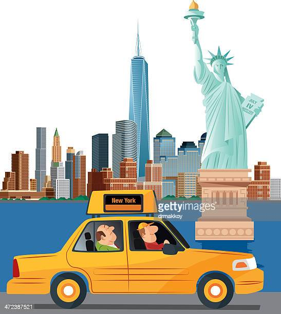 illustration of new york city with a cab driving by - liberty island stock illustrations, clip art, cartoons, & icons