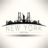 Illustration of New York City with Brooklyn Bridge