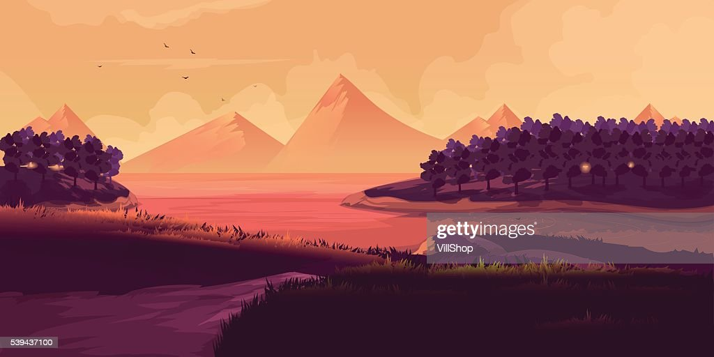 Illustration Of Night Landscape, Mountains, Sunset