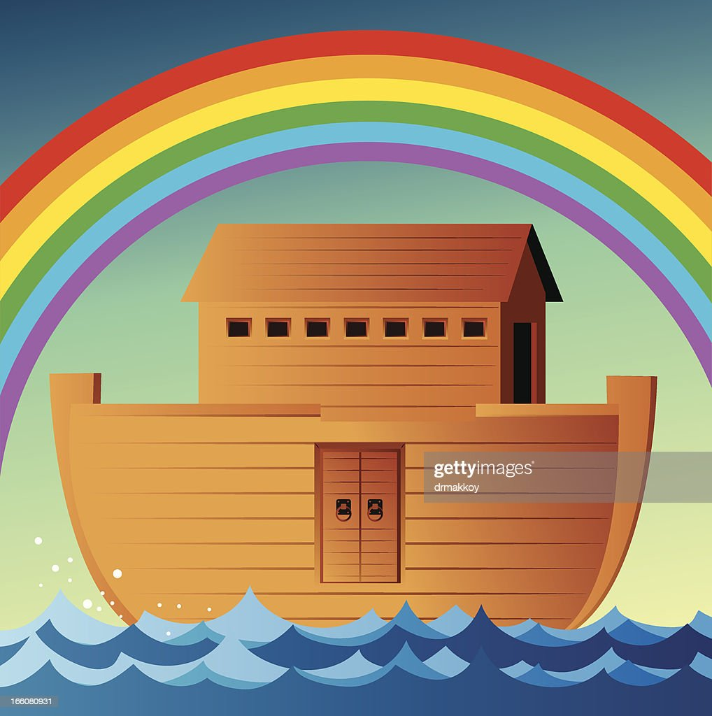 Illustration of Noah's Ark in ocean with rainbow above