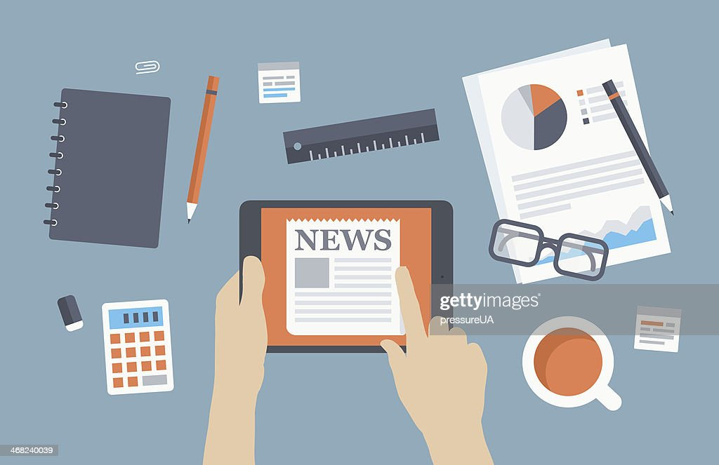 Illustration of office desk with news on tablet