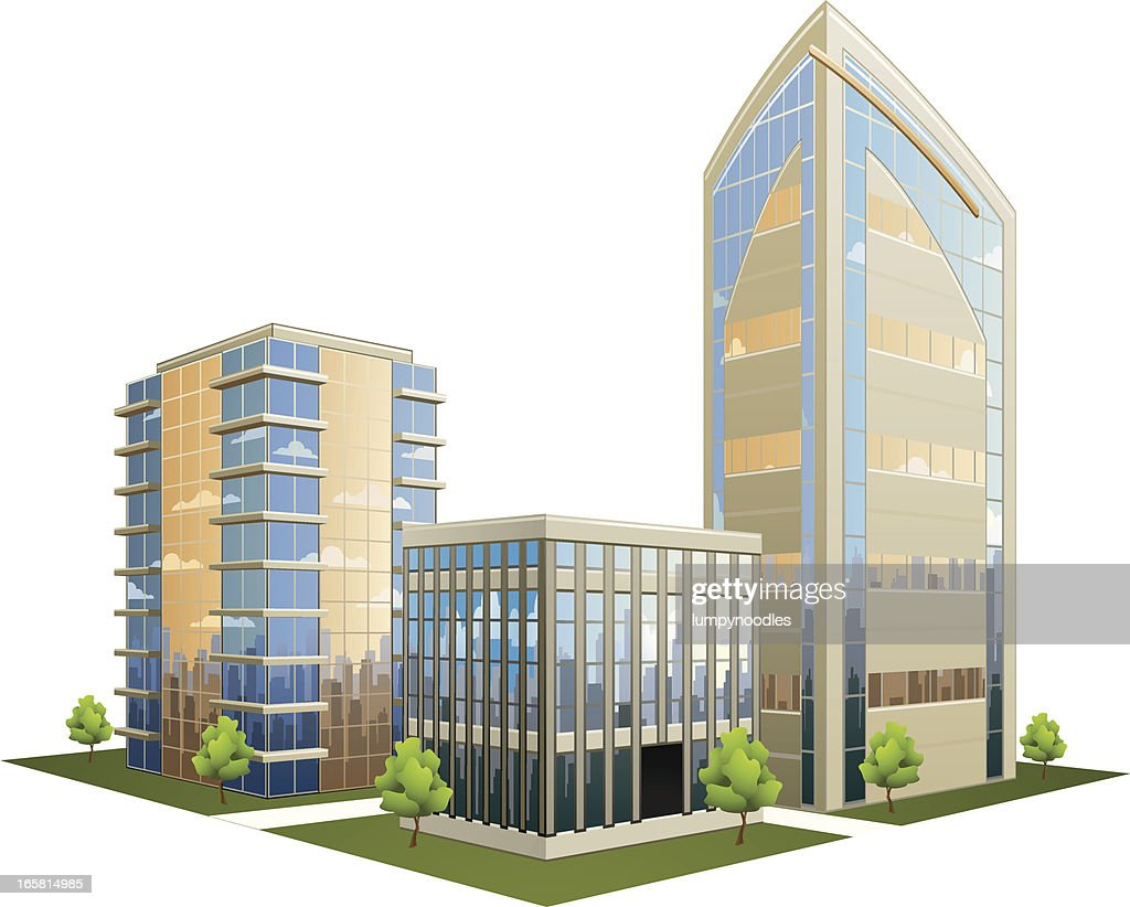 Illustration of office part with skyscrapers : Stock Illustration