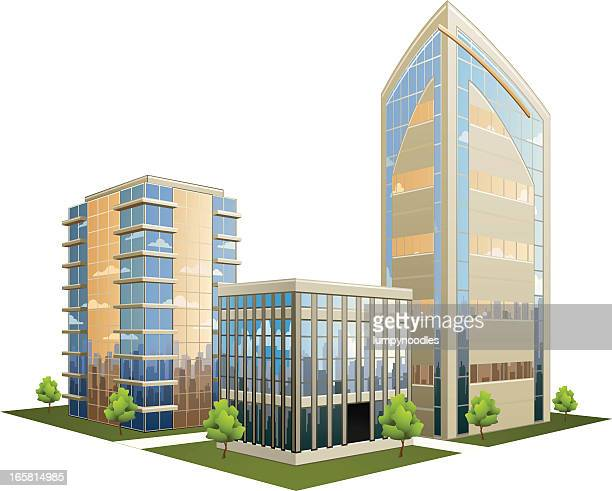 illustration of office part with skyscrapers - skyscraper stock illustrations