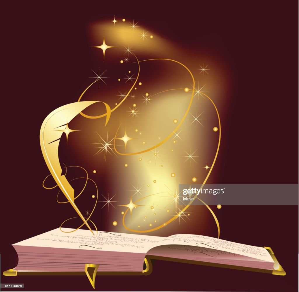 Illustration of open book with magic dust and feather pen