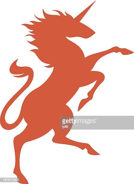 Illustration of orange unicorn on white background