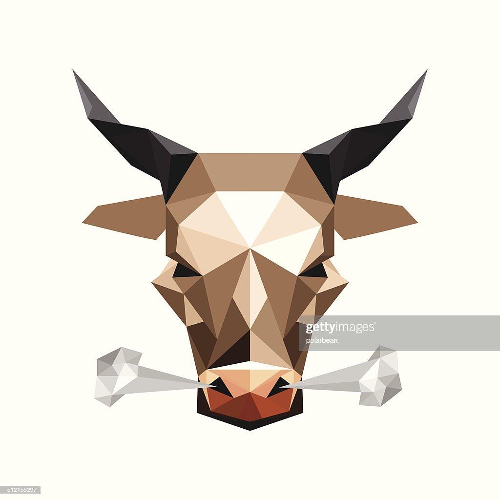 Illustration of origami wild steam bull