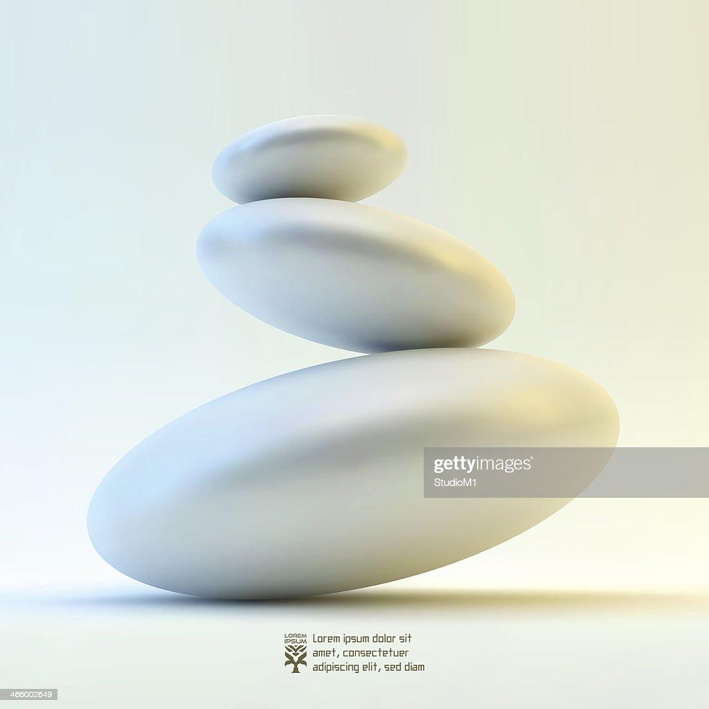 3D illustration of ovals balanced on edges