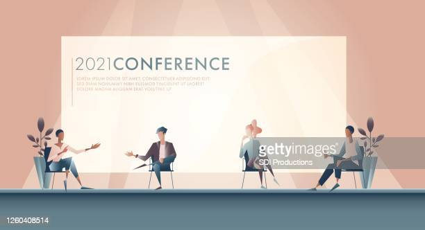 illustration of panel discussion during business conference - panel discussion stock illustrations