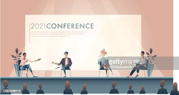 illustration of panel discussion - panel discussion stock illustrations