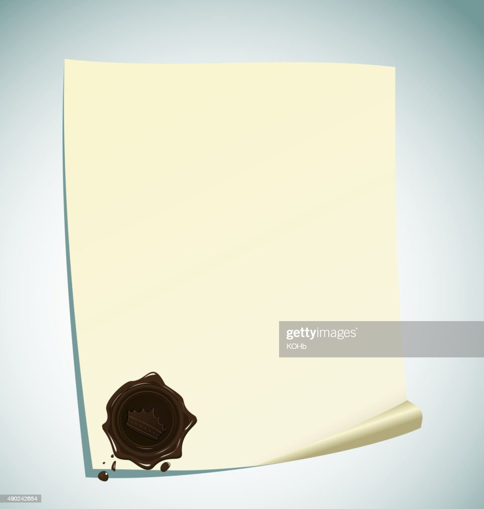 Illustration of paper with brown wax sealing