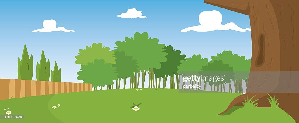 Illustration of park in sunny day with tree in front