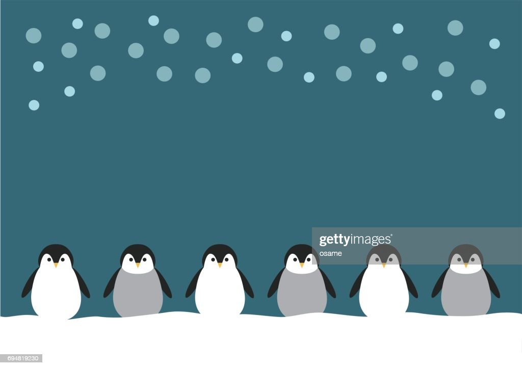 Illustration of penguin and snow